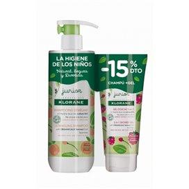 Klorane Junior Peach Detangling Shampoo 500Ml + Raspberry Shower Gel 200Ml