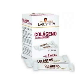 Colageno Con Magnesio Lajusticia Sticks Fresa 20 Sticks