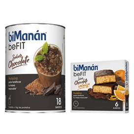 Bimanan Befit Batido Chocolate 540G + Barritas Befit Choco-Naranja 6U